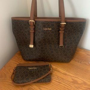 Calvin Klein handbag and wristlet